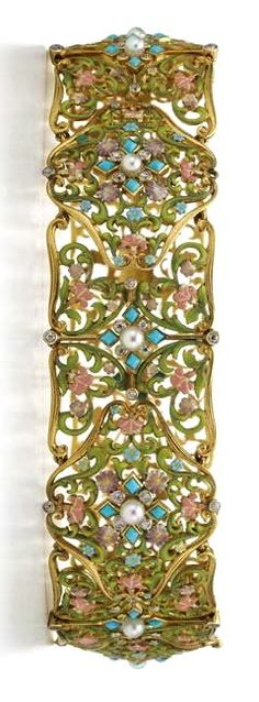 TIFFANY__A gold, diamond, enamel, turquoise and pearl necklace circa 1904 by Tiffany & Co.
