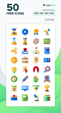50 College icons for personal and commercial use. Basic Straight Flat icons. Download now free icon pack from Flaticon, the largest database of free vector icons. #Flaticon #icons #teacher #education #school #college