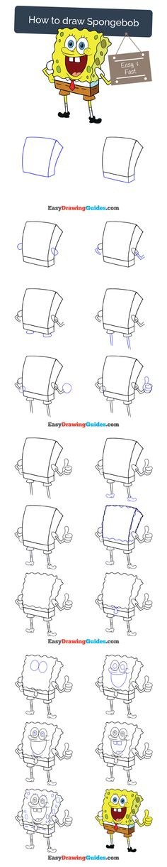 Learn How to Draw Spongebob: Easy Step-by-Step Drawing Tutorial for Kids and Beginners. #spongebob #drawing. See the full tutorial at https://easydrawingguides.com/how-to-draw-spongebob/