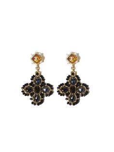 Crystal CC Clover Earrings - Golden / Multi