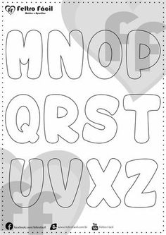 ALPHABET LETTER MOLDS - We selected here in this post some molds of alphabet letters for felt productions already edited in natural size! Felt Name Banner, Name Banners, Doodle Lettering, Graffiti Lettering, Alphabet Templates, Applique Letters, Bubble Letters, Lettering Tutorial, Busy Book