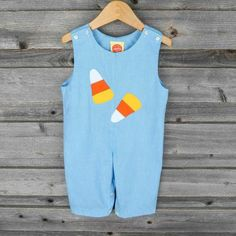 Candy Corn Applique Longall Bright Blue Gingham - by Southern Sunshine Kids