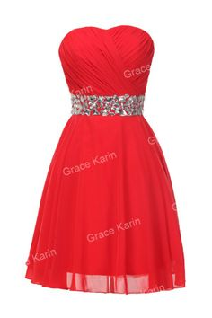 bridesmaid - 2014 Real Free Shipping Women Fashion Red Short Crystals Embellished Ruched Bodice Evening Dress CL4792