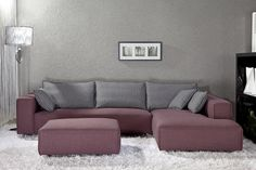 Modern Living room furniture sofa set purple color
