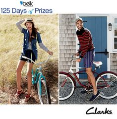 Treat your feet to a shoe wardrobe makeover from Clarks!    Enter now for a chance to update your shoe collection Clarks' style. #belk125
