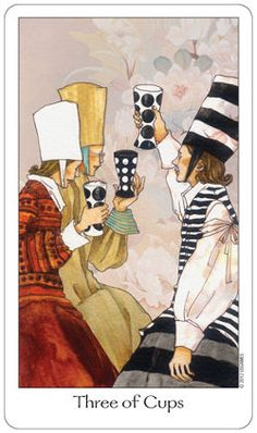 "Three of Cups Upright:Celebration, friendship, creativity, community Reversed: An affair, ""three's a crowd"", stifled creativity"