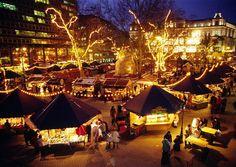 Christmas Market in Vorosmarty Square in Budapest. 2011.