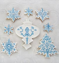 Stunning hand-painted snowflake cookies