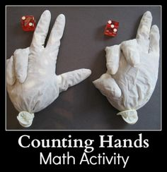 Counting Hands -  Bean-filled gloves for addition practice ! (math activity)