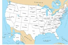 us map | map of The United States of America with all States & Capital Cities