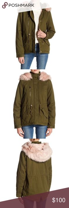 """NWT Vero Moda Renia Faux Fur Parka, Sz. S NWT.  Dark Olive.  Size small.  TTS.  Spread collar with removable faux fur trim.  Long sleeves; buttoned cuff.  Front zip closure.  Front patch pockets with buttoned flap closure.  Drawstring at waist.  Quilted inner.  Back slit.  Lined and lightly padded.  Approximately 24.5"""" in length.  She'll:  100% cotton; lining/padding:  100% polyester; faux fur:  50% modacrylic; 50% acrylic.  Machine wash. Vero Moda Jackets & Coats"""