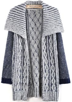Blue Lapel Long Sleeve Cable Knit Cardigan US$33.93