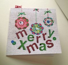 Christmas Cards Pk of 5,'Baubles with Buttons',Hand Finished Xmas Cards by Stephanie Short Stationery