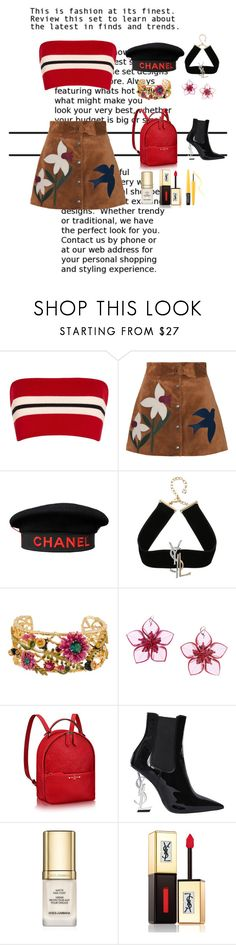 """""""Untitled #138"""" by xoutfiter ❤ liked on Polyvore featuring Etienne Deroeux, RED Valentino, Chanel, Yves Saint Laurent, Les Néréides, Dsquared2, Dolce&Gabbana and MAKE UP FOR EVER"""