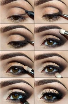 "brown smokey eyes, learn how ""smizing"" and working the smokey eye look creates drama in 8 easy steps. required: eyeshadow concealer (or and concealer 1 shade lighter than skintone, brown and black eyeliner, deep brown+shimmer cream or white+ black (optional) nude creamy eye shadow, appropriate brushes, 2 types of mascara (first kind- 4 coats, second kind applied when first application is tacky)"