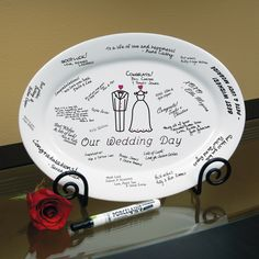 Customize your guest book with a plate (or other object instead of guest book) and customize your wedding! Here's another example: Wedding Day Guest Book Platter and Easel Wedding Favors, Wedding Reception, Wedding Gifts, Wedding Ideas, Wedding Stuff, Wedding Blog, Wedding Decorations, Wedding Wishes, Reception Ideas