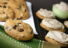 Pumpkin pecan chocolate chunk cookies with maple brown butter frosting