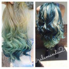 Mermaid mind green light blue deep dark blue balayage hair