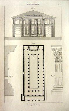 architecture antique de 1852 imprimer la Basilique de Pompéi, plan d'étage original temple romain vintage gravure, tirage d'art décoration classique