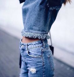 Denim on denim.