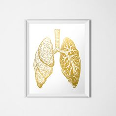 Gold Human Lungs Printable 16 x 20 Find the matching Brain here: http://etsy.me/1RQGpg1  Find the matching Skull here: http://etsy.me/229fTqp  Find