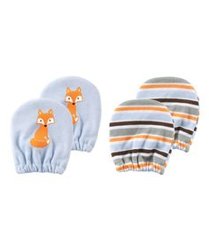 Look at this Luvable Friends Blue Fox Two-Pair Hand Mitt Set on #zulily today!