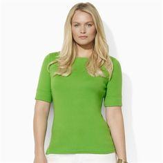 Lauren Ralph Lauren Plus Size Cotton Boat Neck Top #VonMaur #LaurenRalphLauren #Green #Classic
