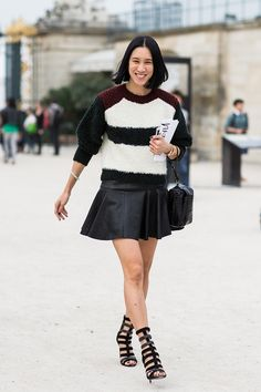 , tuileires outside Viktor and Rolf, Eva Chen, editor-in-chief, Lucky magazine