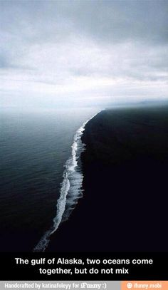 Gulf of Alaska. Two oceans come together, but do not mix!