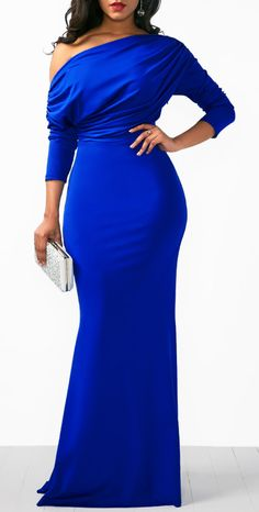 Skew Neck Draped Long Sleeve Mermaid Dress Blue gown, formal dress, off shoulder sexy dress Blue Mermaid Dress, Long Sleeve Mermaid Dress, Maxi Dress With Sleeves, Mermaid Dresses, Dress Up, Hot Dress, Sleeve Dresses, Dress Work, Mermaid Gown