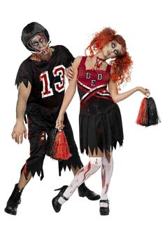 Want to have a real live zombie on the team? The zombie football player costume lets some unexpected carnage loose on the field. Zombie Football Player Costume, Zombie Cheerleader Costume, Cute Couple Halloween Costumes, Retro Halloween, Costume Zombie, Duo Costumes, Costume Ideas, Female Costumes, Zombie Fancy Dress