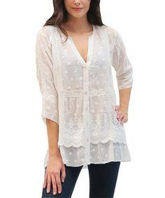 Look at this #zulilyfind! Ivory Embroidered Scarlett Button-Up #zulilyfinds $29.99 100% cotton