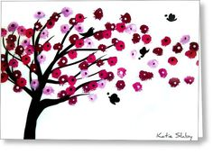 Blowing Blossoms Greeting Card by Katie Slaby