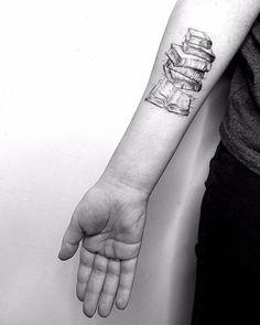 Book Lover Tattoo Idea by Vitaly Kazantsev