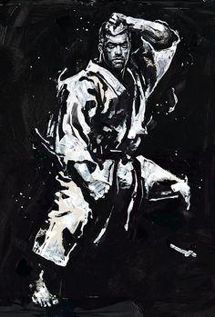 "Gian Galang: ""Machida Karate"" Acrylic on Rives BFK, Digital,..."