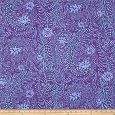 Kaffe Fassett Ferns Purple from @fabricdotcom  Designed by Kaffe Fassett for Westminster, this cotton print fabric is perfect for quilting, apparel and home decor accents. Colors include green, fuchsia, shades of purple, and shades of blue.