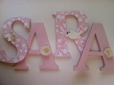 Alphabet wooden letters for nursery in pink and by SummerOlivias