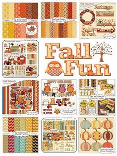 #Fall #Autumn DIgital Scrapbook Kits #clipart #Pumpkins #Turkey #Teacher art digital papers backgrounds http://tinyurl.com/fallkitsits