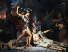 """""""Blood ran in torrents, drenched was all the earth, As Trojans and their alien helpers died. Here were men lying quelled by bitter death All up and down the city in their blood.""""  ~ Quintus Smyrnaeus, Posthomerica  The Death of Priam by Jules Joseph Lefebvre  Priam was the king of Troy during the Trojan War and was killed during the Sack of Troy by Achilles' son Neoptolemus (also known as Pyrrhus). His death is graphically related in Book II of Virgil's Aeneid."""