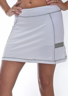 "Fitted  Three tone color combination   Elastic waistband  Mesh side panels  Internal self-fabric fitted shorts  ""StayDry"" Wicking Microfiber Material   UV Protection UPF 50 - Blocks 98% of sun's UV rays  Anti-Bacterial Treatment  Skort length: 15""        $69.00      Product Code: 21149"