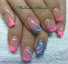 Pink Nail Art, Cute Acrylic Nails, Pink Nails, Elegant Nails, Stylish Nails, Trendy Nails, Nail Tip Designs, Fingernail Designs, French Nail Designs