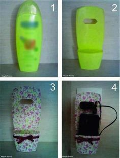 DIY: Turn an empty shampoo bottle into a cell phone holder while charging. Fun Crafts, Diy And Crafts, Craft Projects, Projects To Try, Shampoo Bottles, Plastic Bottle Crafts, Reuse Plastic Bottles, Cell Phone Holder, Ipod Holder