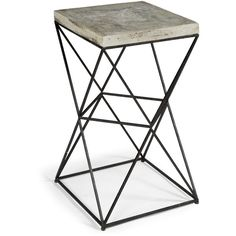 Paterson Industrial Loft Metal Concrete Square End Table ($523) ❤ liked on Polyvore