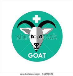 Goat Face Icon Flat Design Vector