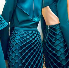 10-15-15 Dion Lee F/W 2015. Fabric with horizontal slits so that it hangs like a web