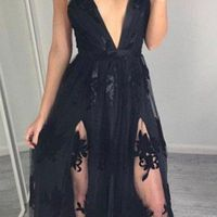 Lace Appliques Prom Dress Sexy Prom Dress,Black V Neck Prom Dresses,Sleeveless Tulle and Lace Prom Dresses, Lace Evening Dress · BallaDresses · Online Store Powered by Storenvy