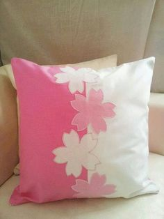 Sakura | Cherry Blossoms  classy pink white appliqué throw pillow cover