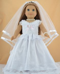 18'' American Girl Doll Clothes: White Victorian Wedding Dress Outfit for 18'' doll clothes, 18'' doll outfit, American Girl Outfit#1159