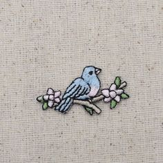 Small - Blue Bird on Branch - Pink Flowers - Iron on Applique - Embroidered Patch - AP-511067