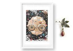 Printable Art Print. Bicycle Art. Chalkboard Poster. Printable